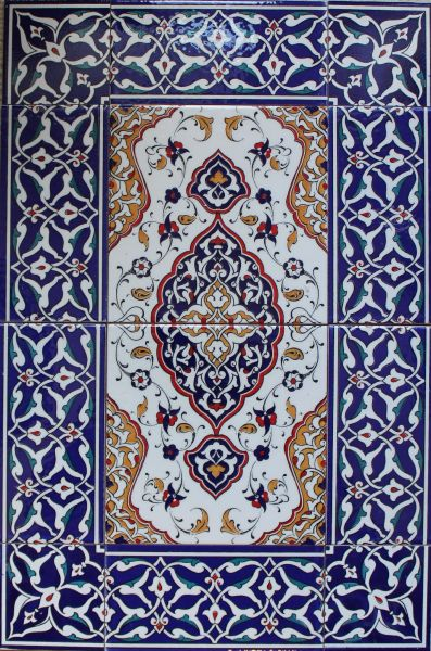 "16""x24"" Turkish Iznik Floral Pattern Ceramic Tile Mural Panel Set"