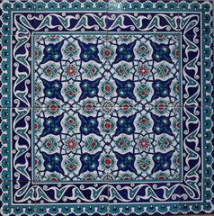 "24""x24"" (60cmx60cm) Turkish Iznik Floral Pattern Ceramic Tile Mural Panel"