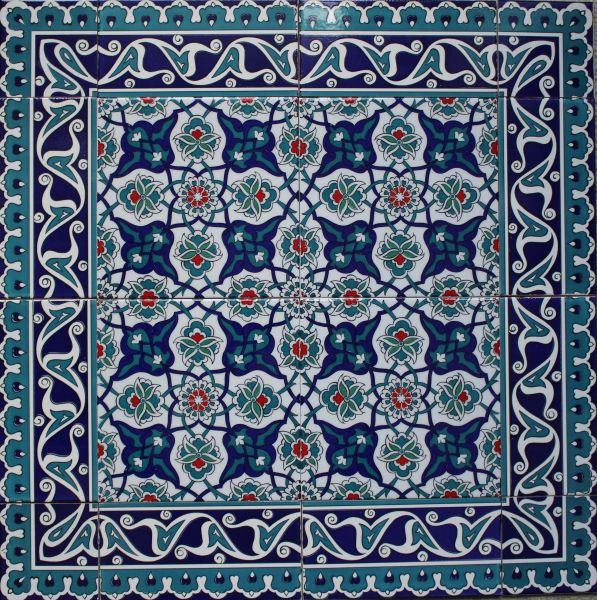 "24""x24"" (60cmx60cm) Turkish Iznik Floral Pattern Ceramic Tile Mural Panel"
