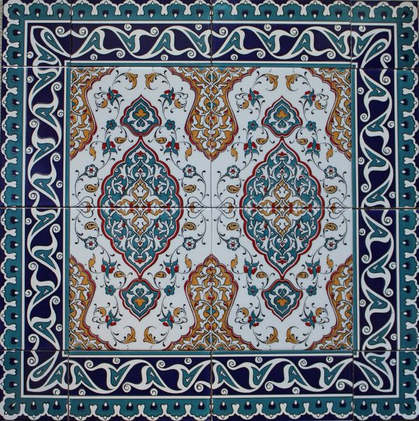 "24""x24"" Turkish Iznik Floral Pattern Ceramic Tile Mural Panel Set"