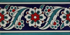 "4""x8"" Turkish Iznik Daisy & Floral Pattern Ceramic Tile Border"