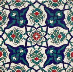"Set of 20 8""x8"" Turkish Iznik Carnation & Daisy Pattern Ceramic Tile"