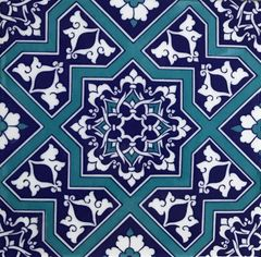 "Blue Turkish Iznik Geometric & Floral Pattern 8""x8"" Tile"
