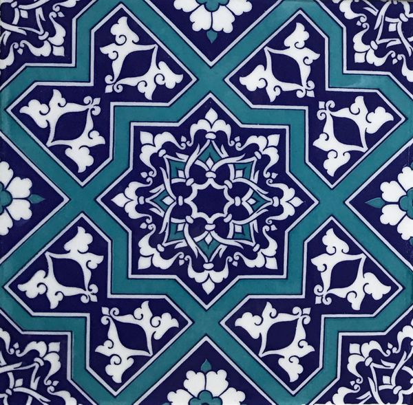 "Blue Turkish Iznik Geometric & Floral Pattern 8""x8"" Tile"