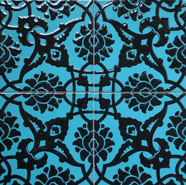 "Set of 20 8""x8"" Turkish Turquiose & Black Iznik Floral Pattern Ceramic Tile"