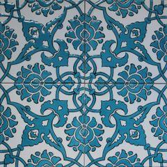 """Set of 4 8""""x8"""" Turkish Blue Iznik Carnation & Floral Pattern Ceramic Tile"""