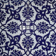 "Set of 4 8""x8"" Turkish Cobalt Blue Iznik Carnation & Floral Pattern Ceramic Tile"