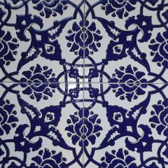 "Set of 20 8""x8"" Turkish Cobalt Blue Iznik Floral Pattern Ceramic Til"