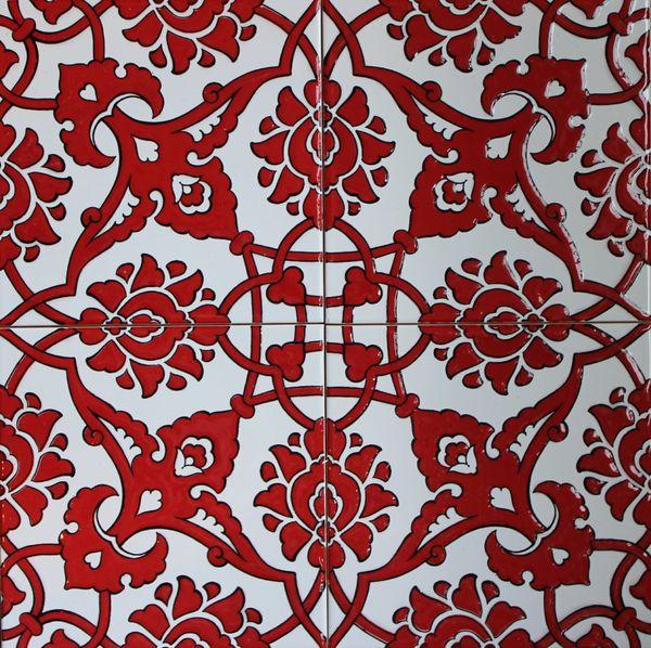 "4/""x8/"" Iznik Red Carnation /& White Daisy Pattern Ceramic Tile Border 10cmx20cm"
