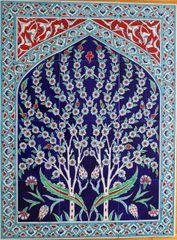 "24""x32"" Handpainted Turkish Iznik Tree of Life Pattern Cini Tile Mural Panel"