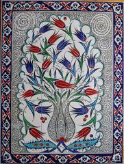 "24""x32"" Handpainted Turkish Iznik Tulip Pattern Cini Tile Mural Panel"
