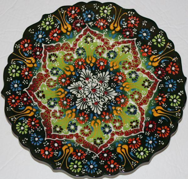 "10"" (25cm) Handmade Turkish Iznik Raised Floral Pattern Ceramic Plate"