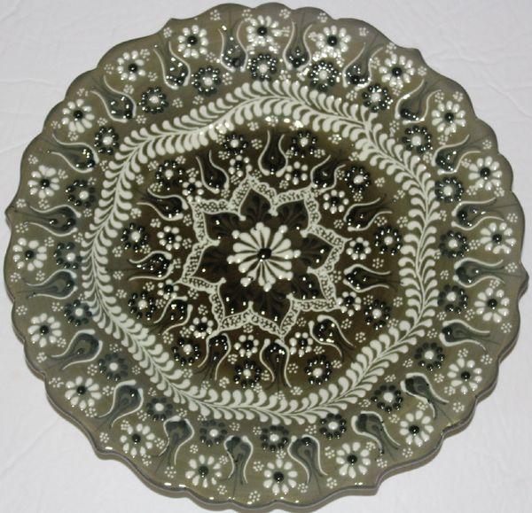 "10"" (25cm) Handmade Turkish Raised Iznik Floral Pattern Ceramic Plate"