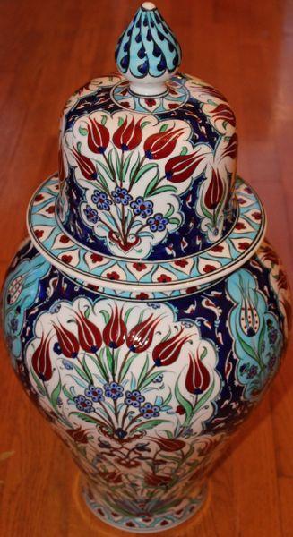 "24""x12"" Handpainted Turkish Iznik Red Tulip Pattern Cini Jar Urn Canister"