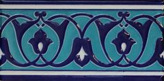 "4""x8"" Turkish Iznik Blue & Turquoise Pattern Ceramic Tile Border"