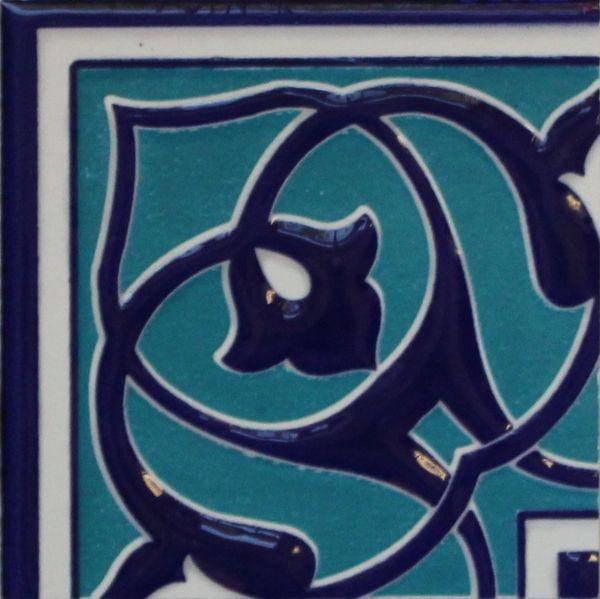 "4""x4"" Turkish Raised Iznik Blue & Turquoise Pattern Ceramic Tile Border Corner"