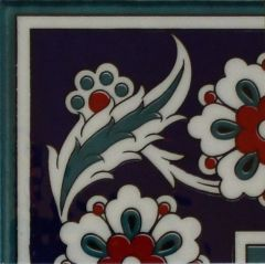 "4""x4"" Turkish Iznik Daisy & Floral Pattern Ceramic Corner Tile"