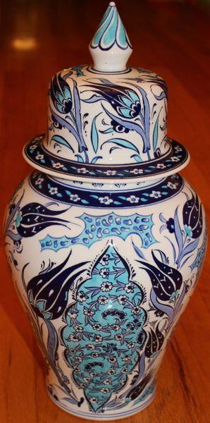 "15""x7"" Blue Handpainted Turkish Iznik Tulip Pattern Cini Jar Urn Canister"