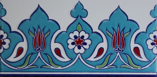 "Set of 40 4""x8"" Turkish Iznik Tulip & Daisy Pattern Ceramic Tile Border"