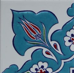 "4""x4"" Turkish Raised Iznik Daisy & Tulip Pattern Ceramic Tile Border Corner"