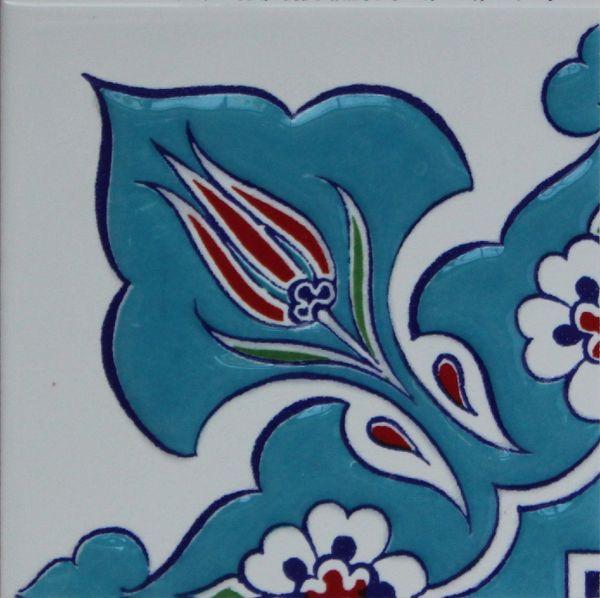 "4""x4"" Turkish Raised Iznik Daisy & Tulip Pattern Ceramic Tile Border Corner"
