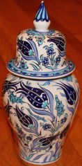 "13""x6"" Blue Handpainted Turkish Iznik Tulip Pattern Cini Jar Urn Canister"