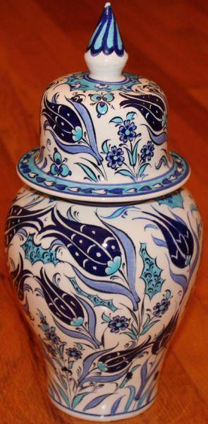 "13""x6"" Blue Handpainted Turkish Iznik Tulip Pattern Cini Jar Urn Canister"
