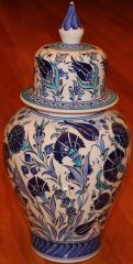 "15""x7"" Blue Handpainted Turkish Iznik Floral Pattern Cini Jar Urn Canister"