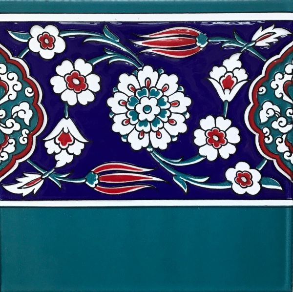 "Set of 20 8""x8"" Turkish Iznik Floral Pattern Ceramic Border Tile0"