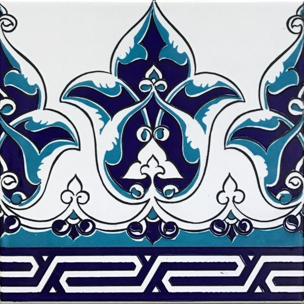 "Set of 20 Blue Turkish 8""x8"" Iznik Floral Pattern Border Ceramic Tile0"