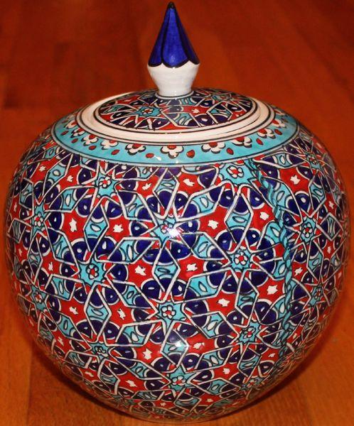 "9""x8"" Handpainted Turkish Iznik Seljuk Geometric Pattern Cini Jar Urn Canister"