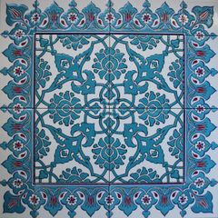 "24""x24"" Blue Turkish Iznik Tulip & Floral Pattern Ceramic Tile Mural Panel"