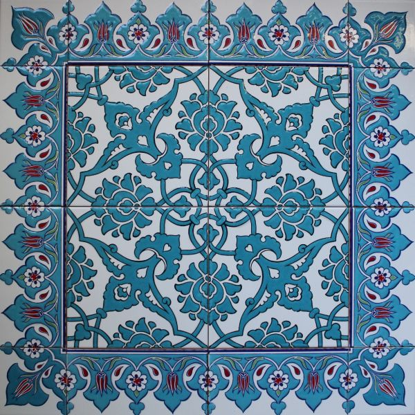 "24""x24"" Blue Turkish Iznik Tulip & Floral Pattern Ceramic Tile Mural Panel"