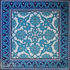 "24""x24"" Blue Turkish Iznik Floral Pattern Ceramic Tile Mural Panel"