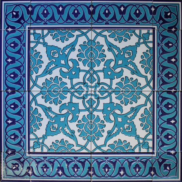 "24""x24"" Blue Turkish Iznik Floral Pattern Ceramic Tile Mural Panel"