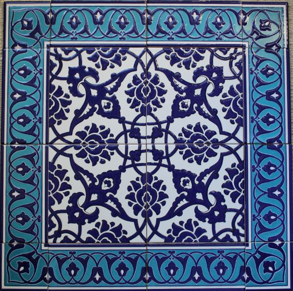 "24""x24"" Cobalt Blue Turkish Iznik Floral Pattern Ceramic Tile Mural Panel"