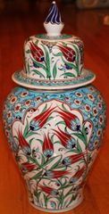 "17""x9"" Handpainted Turkish Iznik Red Tulip Pattern Cini Jar Urn Canister"