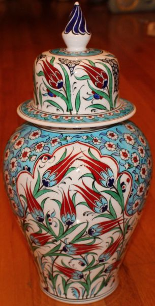 "17""x9"" Handpainted Turkish Iznik Red Tulip Pattern Cini Jar Urn Canister"