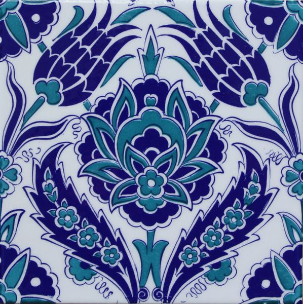 "Turkish Iznik Blue Carnation & Tulip Pattern 8""x8"" Ceramic Tile"