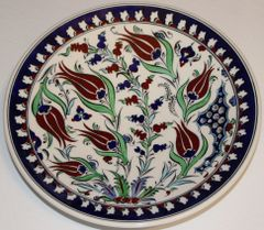 "10"" (25cm) Handmade Turkish Iznik Tulip & Floral Pattern Ceramic Plate"