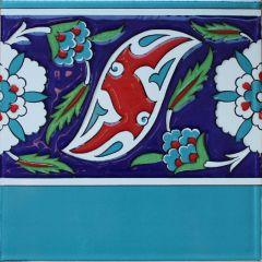 "8""x8"" Turkish Iznik Floral Pattern Ceramic Border Tile"