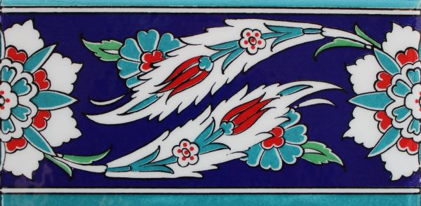 "4""x8"" Turkish Iznik Tulip & Daisy Pattern Ceramic Tile Border"