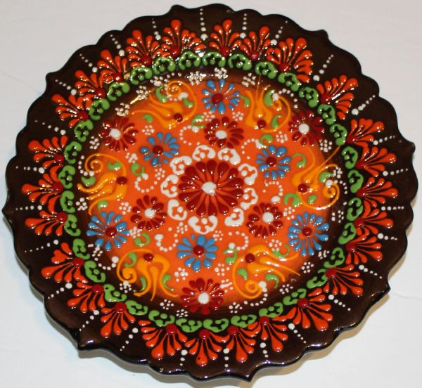 "7"" (18cm) Turkish Iznik Raised Floral Pattern Plate"