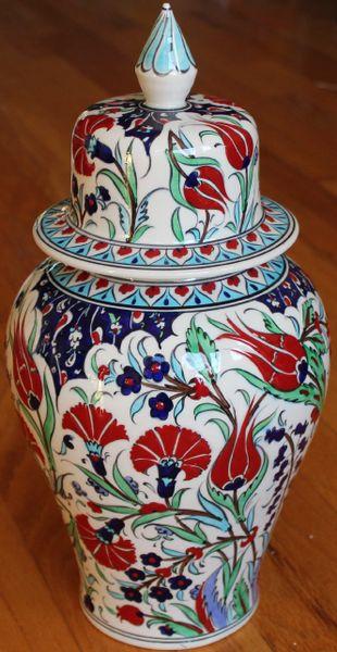 "15""x7"" Handpainted Turkish Iznik Tulip & Floral Pattern Cini Jar Urn Canister"