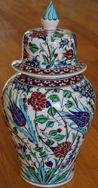 "15""x7"" Handpainted Turkish Iznik Floral Pattern Cini Jar Urn Canister"