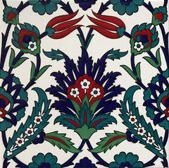 "Turkish 8""x8"" Iznik Carnation & Tulip Pattern Ceramic Tile"