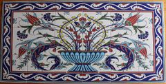 "47""x24"" Turkish Hand-painted Iznik Tulip & Floral Pattern Ceramic Tile Mural Panel"
