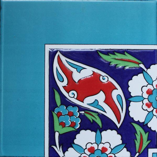 "8""x8"" Turkish Iznik Floral Pattern Ceramic Border Corner"