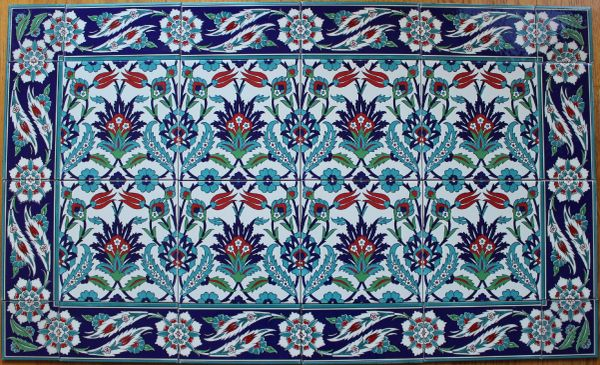 "24""x40"" Turkish Iznik Tulip & Floral Pattern Ceramic Tile Mural Panel"