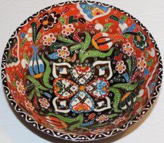 "8""x3"" Handmade Turkish Iznik Raised Tulip Pattern Ceramic Bowl"